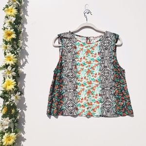 Michael Stars Cropped Keyhole Tank Top Floral L